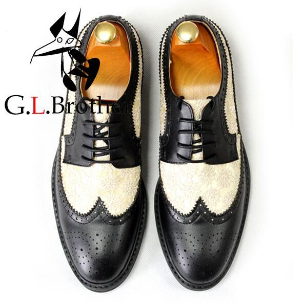 купить British Fashion Men Shoes Cowhide Embroidered Cloth Black And White Men Shoes Embroidered Lace-up Leather Shoes онлайн
