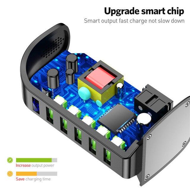 USLION 5 Port USB Charger HUB LED Display Multi USB Charging Station Dock Universal Mobile Phone Desktop Wall Home EU UK Plug 5