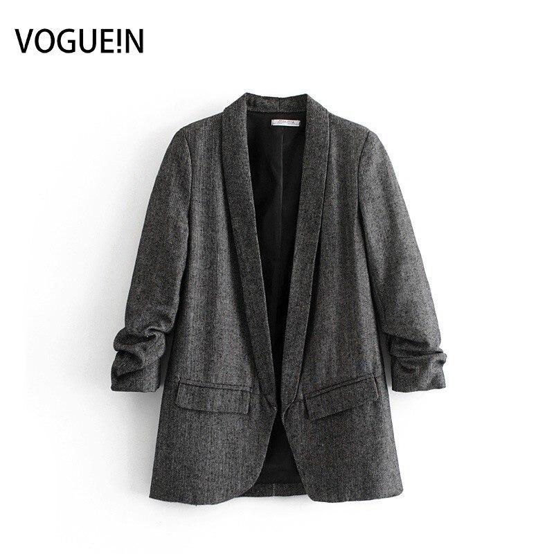 VOGUEIN New Womens Gray Casual Ruffled 3/4 Sleeve Lapel Blazer Suit Outwear Coat Wholesale