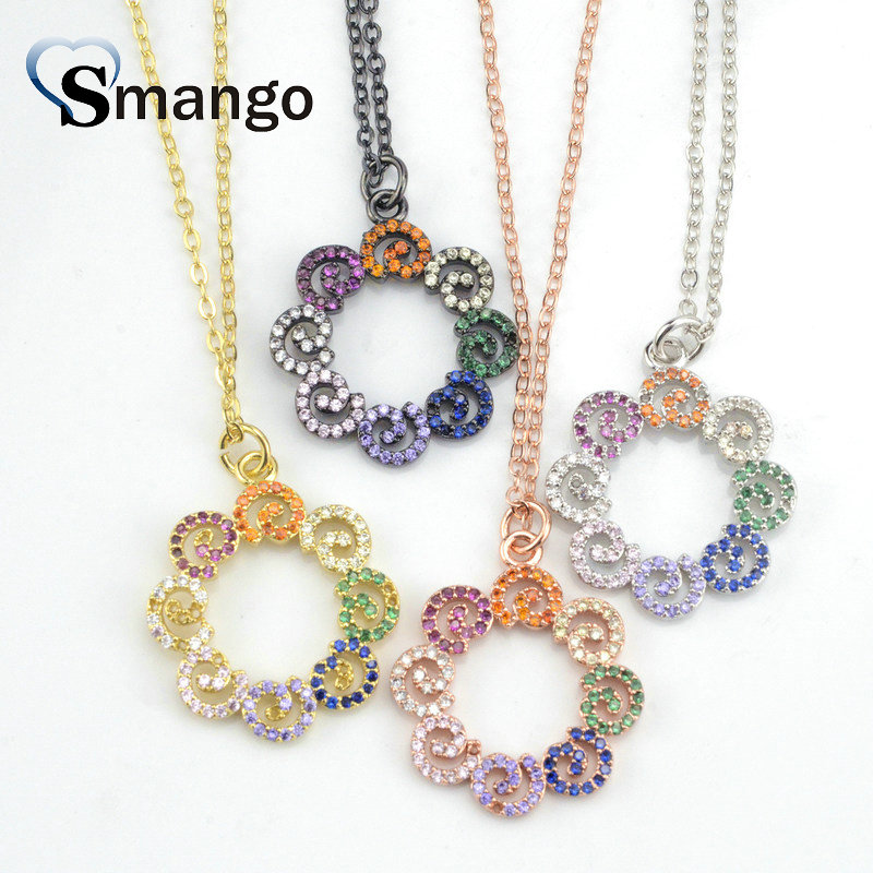 5Pieces,The Rainbow Series Women Fashion Jewelry,The Round Shape CZ Prong Setting Necklace and Connectors,Can Wholesale