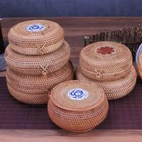 Handmade Round Rattan Puer Tea Storage Box With Lid Wood Wicker Straw Basket Kitchen Organizer Food Container Chest Candy Jar