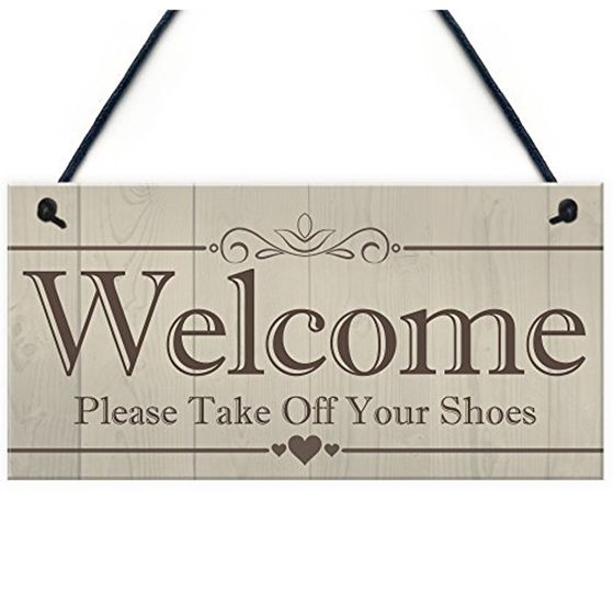 2019 Welcome Please Take Off Your Shoes Hanging Plaque Sign House Porch Decor Gift