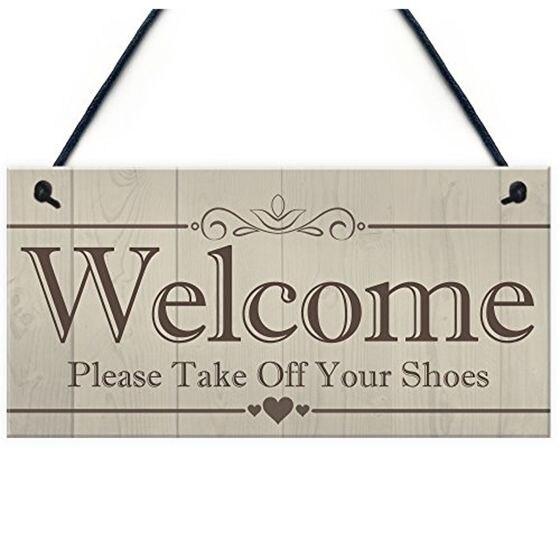 2019 bienvenue veuillez enlever vos chaussures suspendus Plaque signe maison porche décor cadeau