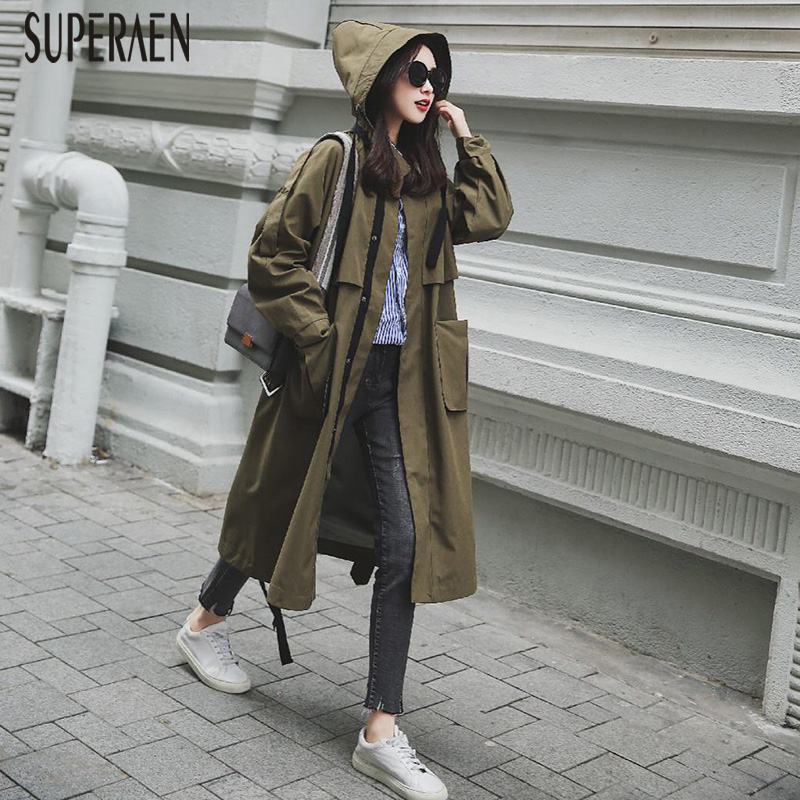 SuperAen 2019 Spring New   Trench   Coat for Women Solid Color Wild Cotton Ladies Hooded Windbreaker Korean Style Women Clothing