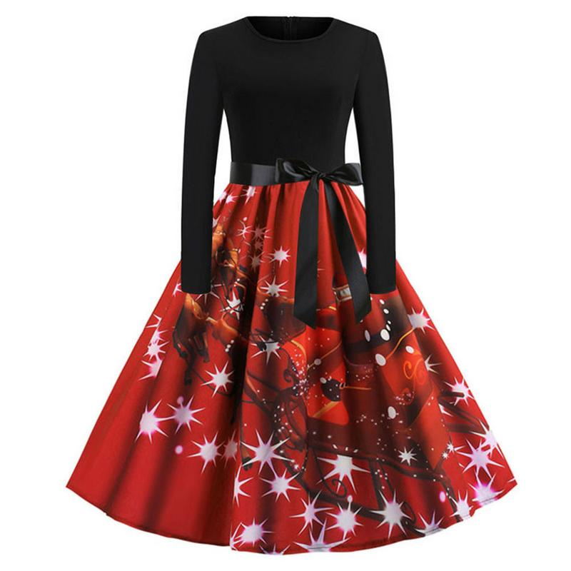 ISHINE Women Dress New Christmas Europe America Vintage Style Printing Long Sleeve Flare Dress Christmas Dress Party