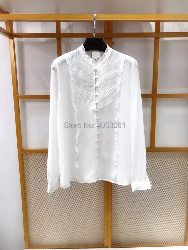 Silk 100 Lace Patchwork Stand Collar Shirt Top With Ruffled Detail 2019 White Black Green Blouse