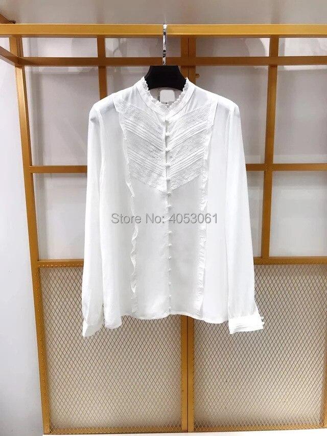 실크 100% 레이스 패치 워크 스탠드 칼라 셔츠 탑 프릴 디테일 2019 화이트/블랙/그린 블라우스 셔츠-에서블라우스 & 셔츠부터 여성 의류 의  그룹 1