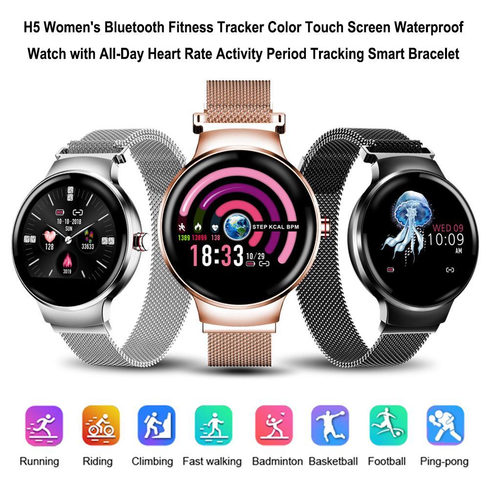 H5 femmes Bluetooth Fitness Tracker couleur écran tactile montre étanche avec toute la journée activité période suivi Bracelet intelligent