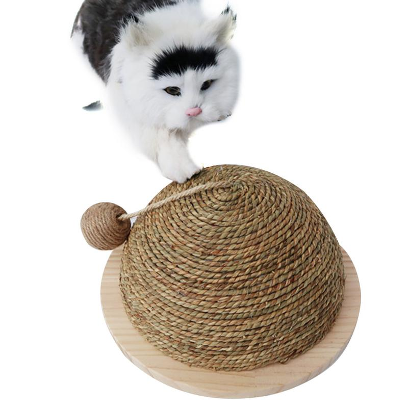 New Cat Toy Wooden Bottom Plate Straw Semi-circular Grinding Claw Ball Cat Toy Climbing Frame Cat Toy With Sisal Hanging Ball