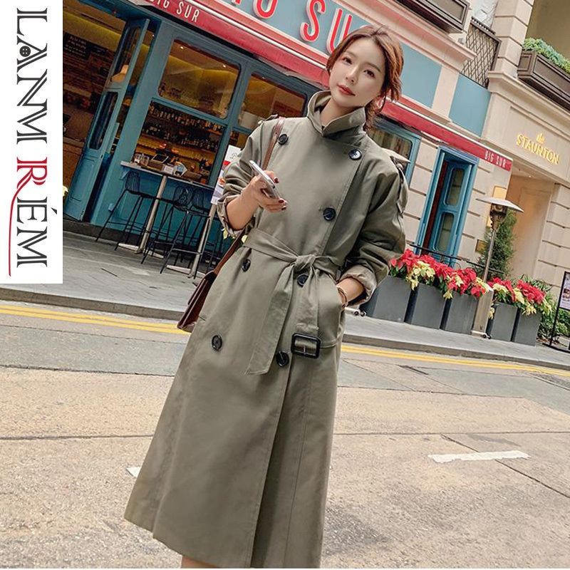 LANMREM 2019 Spring Notched Long Sleeve Double Breasted Long Coat For Women New Fashion Overcoat Female's   Trench   Vestido YG56706