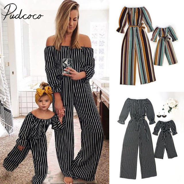 60cf686ffb 2019 Brand New Fashion Women Girl Matching Jumpsuit Mother Daughter Family  Outfit Striped Long Flare Sleeve Elastic Waist Romper