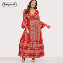 купить Women Plus Size Dress Long Sleeve Autumn Large Lady Maxi Dress Geometric V Neck Casual Retro Female Dress Vestidos D40 дешево