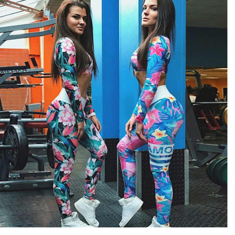 New Color Letter Printing Sports Yoga Suit Female Vest+Leggings Gym Fitness Sportswear  2 Piece Set Workout Clothing For Women