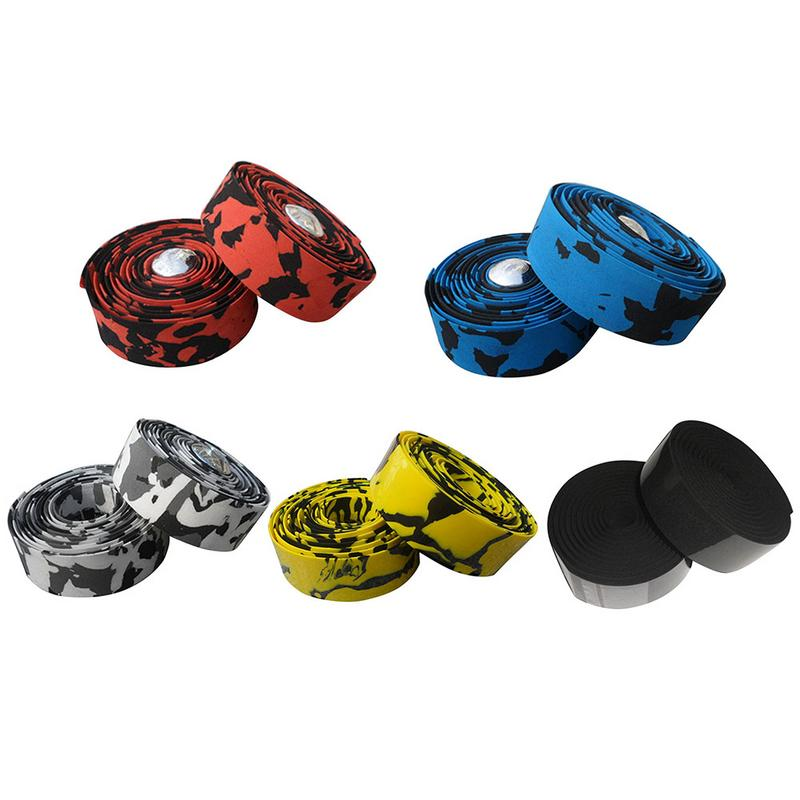 Road Cycling Bike Bicycle Handlebar Tape Camouflage Handle Belt Wrap Bar Plugs
