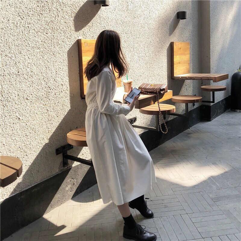 LANMREM/2019 новое летнее модное женское повседневное свободное ТРАПЕЦИЕВИДНОЕ ПЛАТЬЕ до середины икры с длинными рукавами и круглым вырезом, хлопковое платье с узором из листьев, женское платье, ZA51300