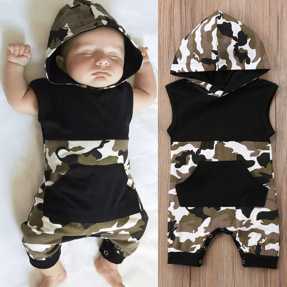Newborn Toddler Baby Boy Girl Kids Camouflage Cotton   Romper   Jumpsuit Clothes Fashion Baby Boys Girls Camo Hoody   Rompers