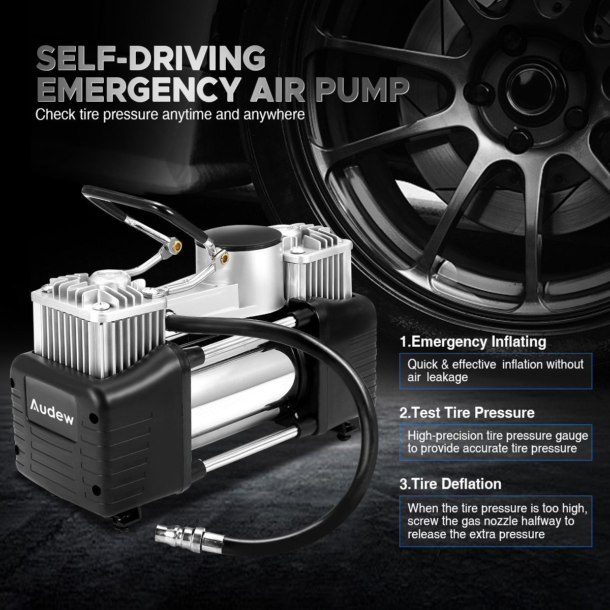 Pneu De voiture Pneu Gonfleur 12 V 150PSI 150 W Double Cylindre Pompe À Air Compresseur Permettent une utilisation 3 pièces Adaptateurs Gonflables Couvent