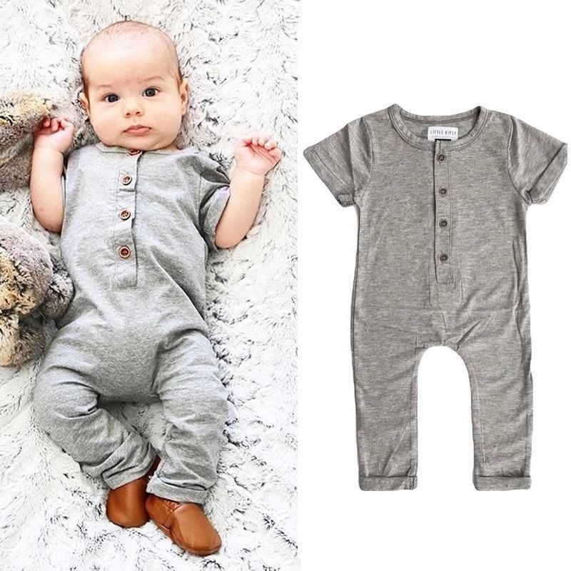 0-24 м 2019 новая милая детская одежда однотонный серый черный Детский комбинезон для мальчиков длинный рукав пуговица для маленьких девочек детский комбинезон