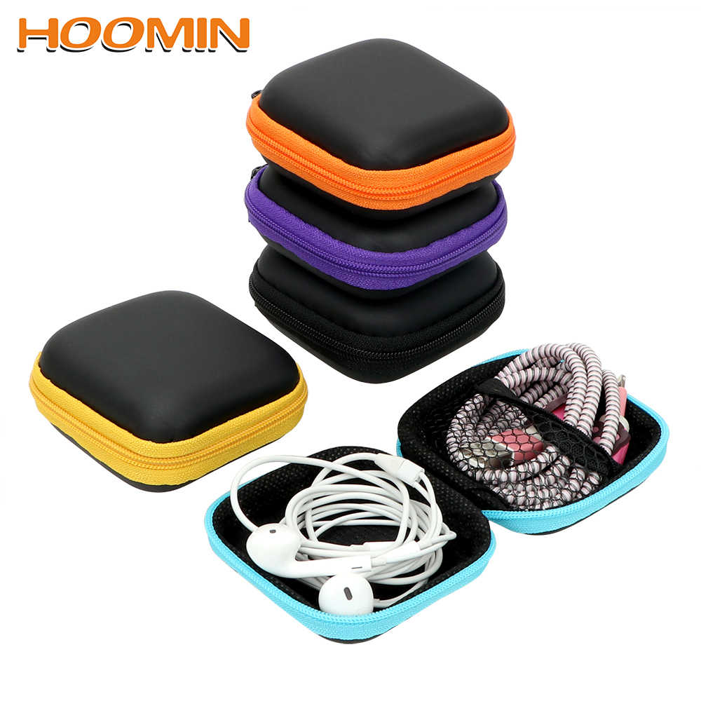 Portable Earbuds Pouch Box Mini Zipper Hard Headphone Case Headset Cover Protector Earphone Storage Bag USB Cable Organizer