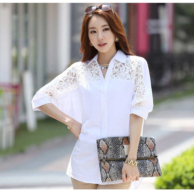 womens tops and blouses women blouses shirt plus size women tops Middle long white cotton linen lace shirt bat sleeve 2589 50