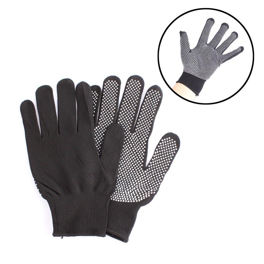 FGHGF 1pair Hair Straightener Curling Tong Hairdressing Heat Resistant Finger Gloves Skid Burn-proof Resistance Black Gray