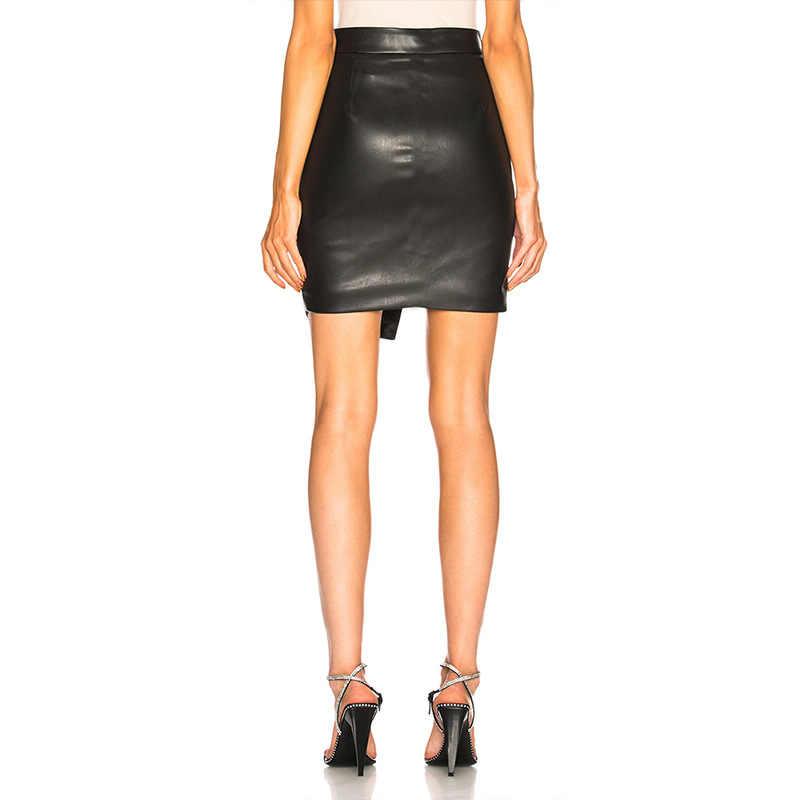 14b515483 ... Women Leather Bodycon Pencil Skirt Stretch High Waist Tight Black  Elegant High split Skirt Clubwear Short ...