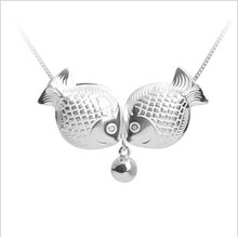 925 Sterling Silver Lovely fish Necklaces & Pendants For Women Fashion Lady Festival Gift Sterling-silver-jewelry недорого