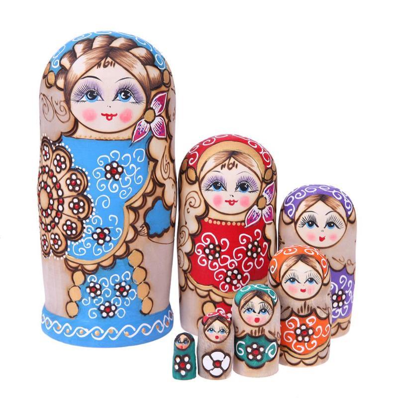 7pcsCute Russian Traditional Matryoshka Toys Russian Dolls Set Wooden Puzzle Matryoshka Handmade Crafts Doll Kids Birthday Gift