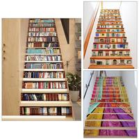 13pcs PVC Waterproof DIY Removable Self adhesive Stairway Stickers Tile Stairs Corridor Wall Floor Decals Living Room Decorated