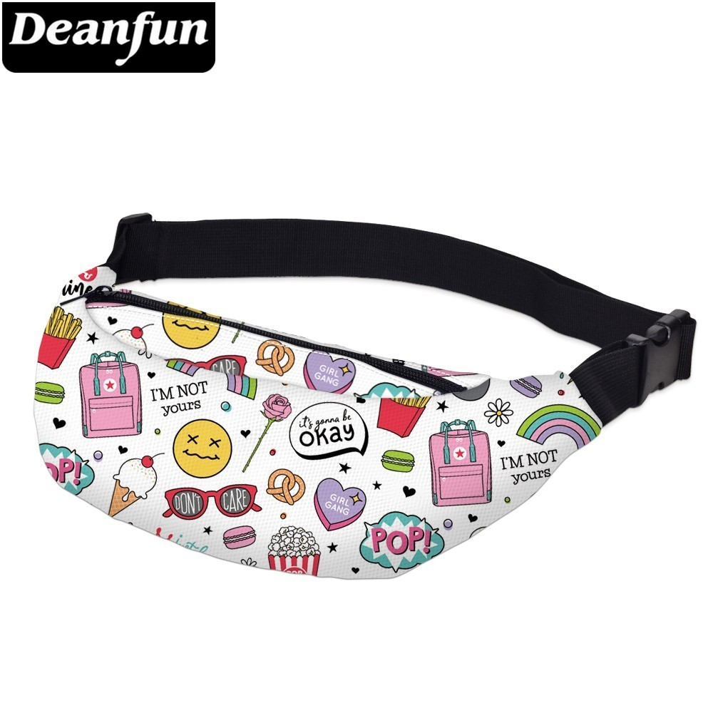 Deanfun Printing Casual Fanny Pack For Men Waterproof Glasses Heart Waist Pack Man Hip Bag For Travel  YB-40