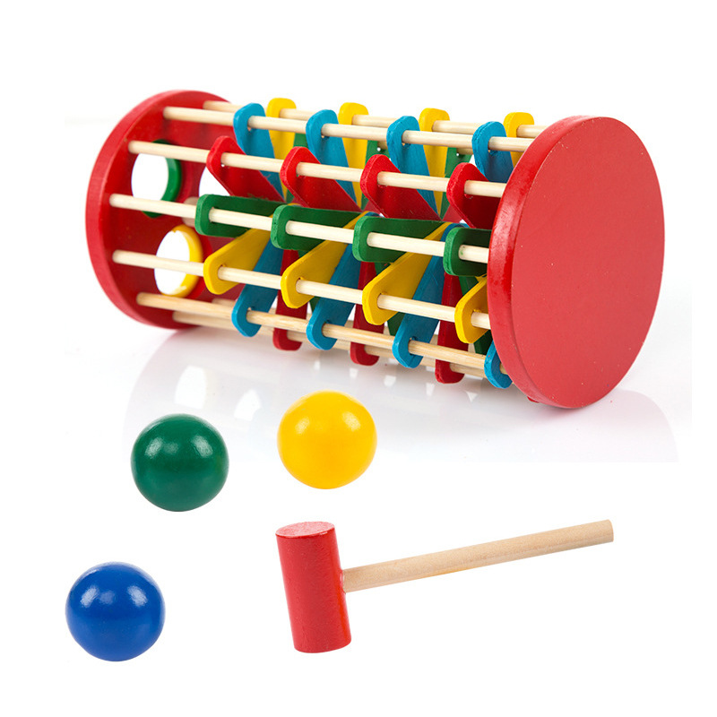 Children Wooden Color Knock Ball Fall Ladder qiu wan ju Baby Cognitive Falling Game 2-3-5-Year-Old