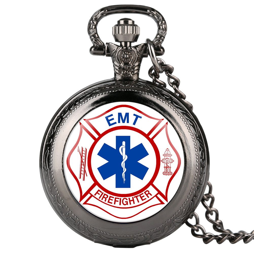 Quartz Mens Necklace Pocket Watch EMT Firefighter Theme Pocket Watch For Boy Arabic Number Pocket Watches For Teenager
