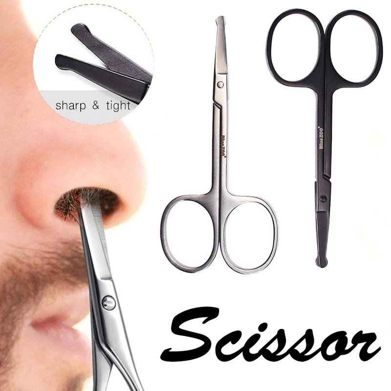 Fashion Stainless Steel Nose Hair Scissors Ear Facial Trimmers Cut Small Eyebrow Scissors Manicure Round Head Beauty Tools