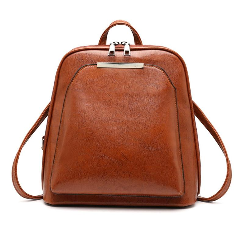 Elegant Vintage Oil Wax Leather Backpack For Women Small Travel Casual Shoulder School Bags Luxury Leather Laptop Bag