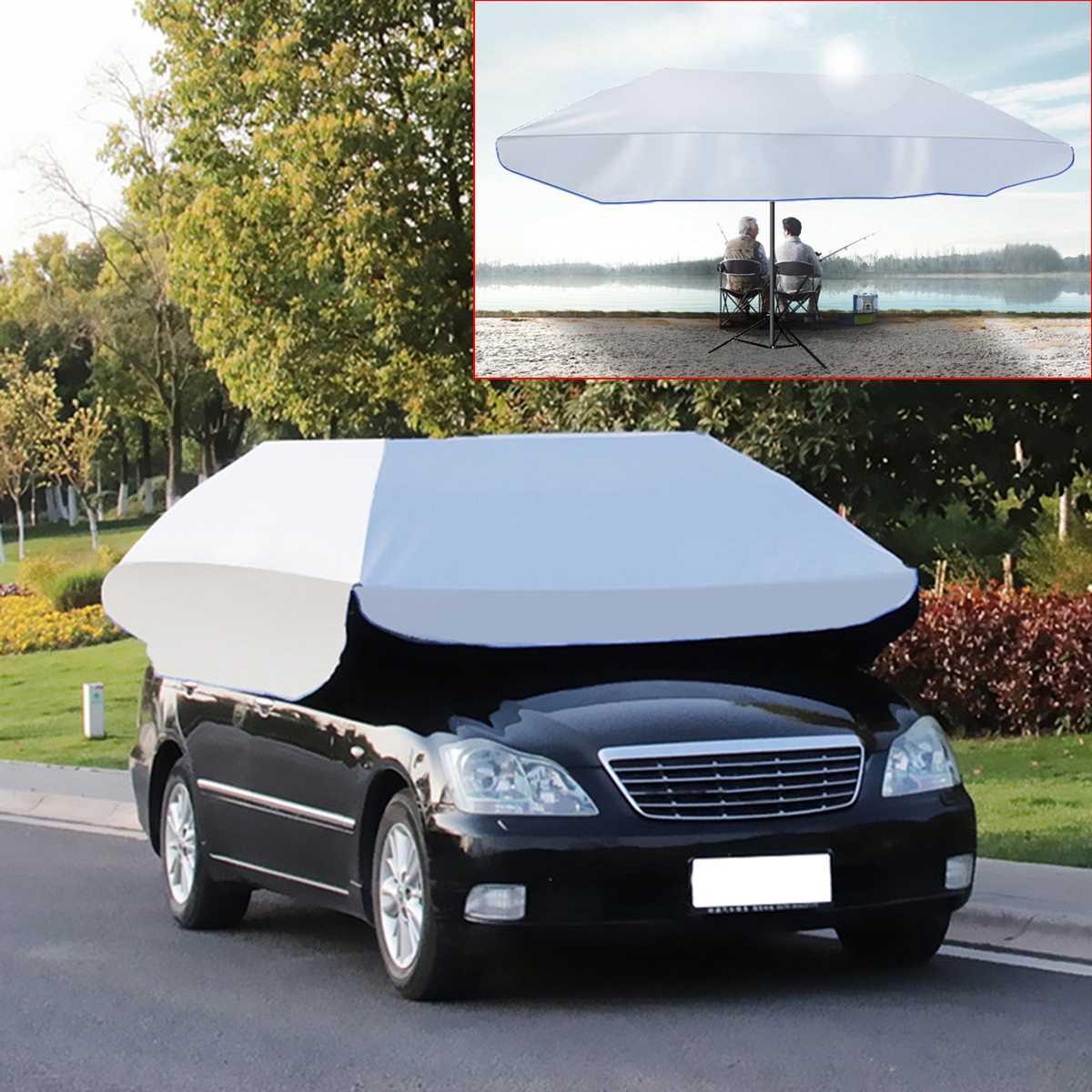 Imperméable à l'eau Anti UV complètement automatique en plein air voiture véhicule tente parapluie parasol couverture de toit voiture parapluie soleil ombre tissu remplaçable