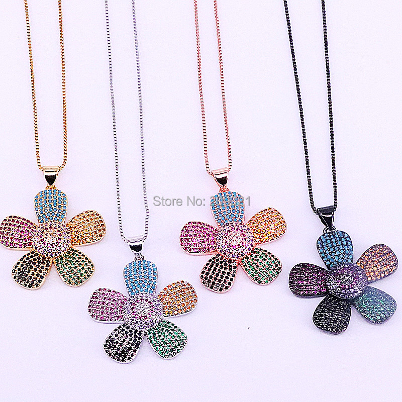 5Pcs Fashion Micro Paved Shining Multicolor Tiny CZ Crystal Flower Pendant Jewelry Necklace for Women Party