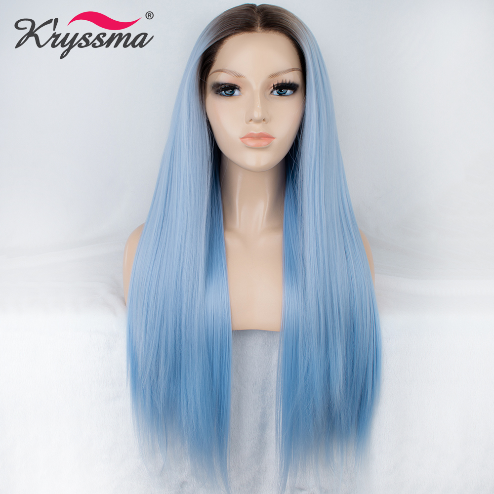 Blue Ombre Wig for Ladies Synthetic Lace Front Wig with Brown Roots Long Straight Light Blue