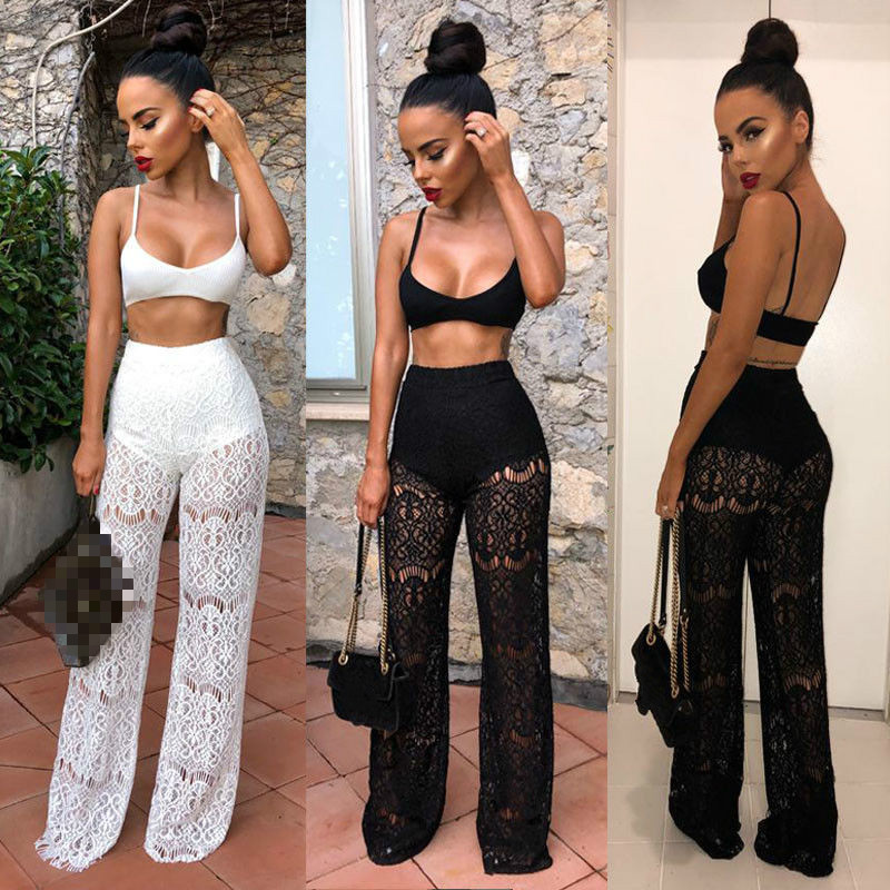 Hirigin 2Pcs Women Sleeveless Crop Tops Clubwear See-through High Waist Lace Hollow Out Trousers Wide Pants Outfit Set