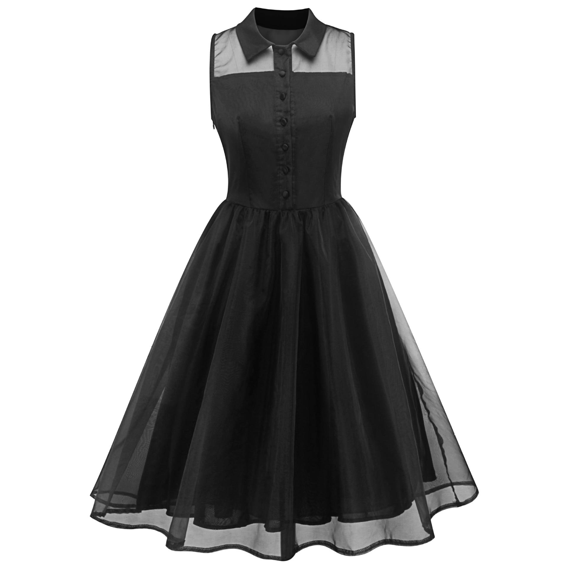 Women Dresses Black Mesh Multi-Layer Splice Retro Sleeveless Buttons Elegant Summer Dress