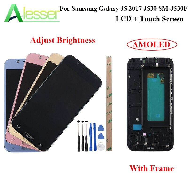 Alesser pour Samsung Galaxy J5 2017 J530 écran LCD SM-J530F et écran tactile + cadre Amoled remplacement ajuster la luminosité + outil