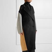 Contrast Color Patchwork Oversize Woolen Long Coat Winter Coat Women Long Sleeve Slim Jacket contrast color stripe long sleeves coat