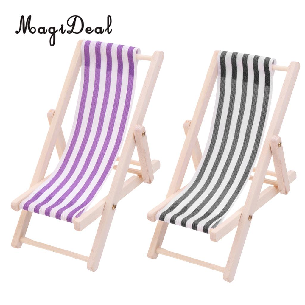 2pcs Striped Wooden Lounge Chair Beach Chaise Longue For 1/12 Dollhouse Miniature Furniture Decoration