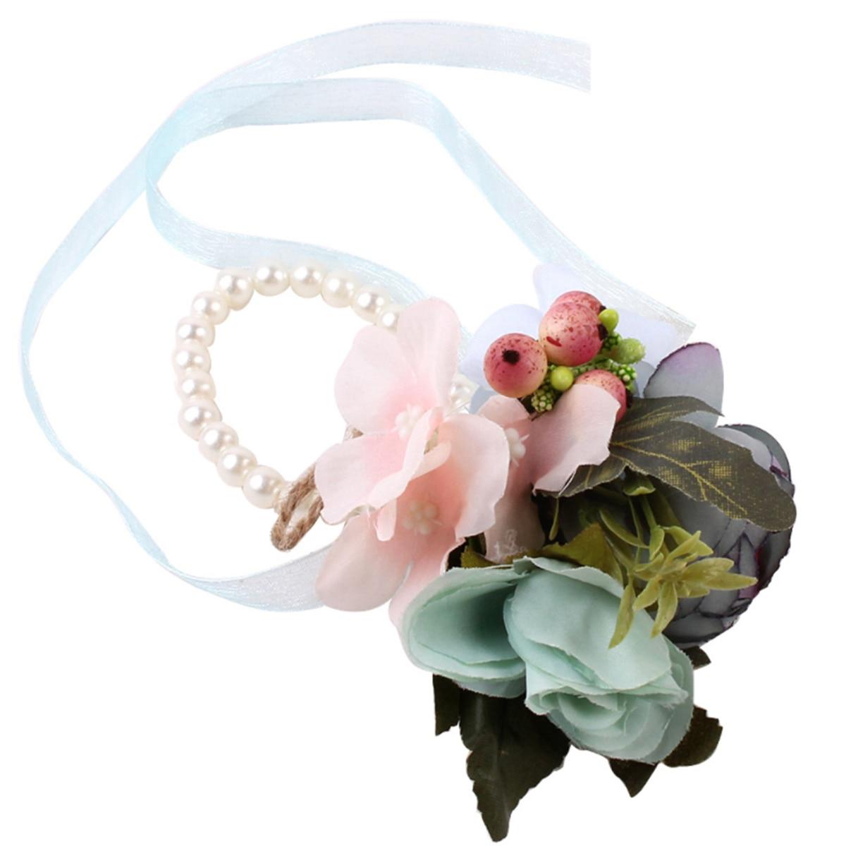 2019 Mode Künstliche Blume Perle Armband Band Stretch-armband Handgemachte Blume Handgelenk Corsage Für Hochzeit Festival Durch Wissenschaftlichen Prozess
