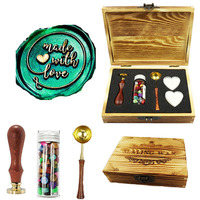 Made With Love Script Wax Seal Stamp Kit Wood Gift Box Rosewood handle Wax Beads Melting Spoon Set,Wedding Invitations Stamp