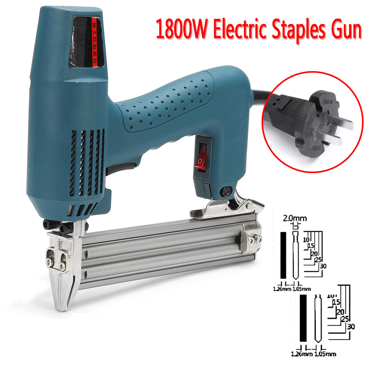 1800W Framing Tacker U Stapler Electric Nailer Staples for Guns Hand Tool Woodworking Tools 220-240V AC