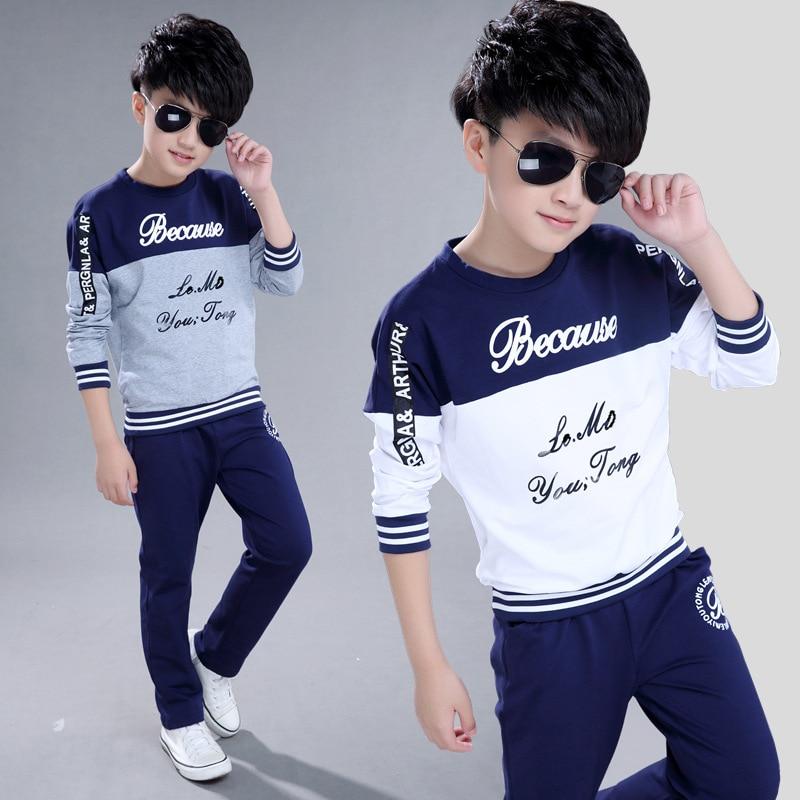 Kids Boys Spring Autumn Sports Leisure Suit Children Stitching Long Sleeve Shirt +pant  Two Piece Sport Sets 3-12 Ages Clothes