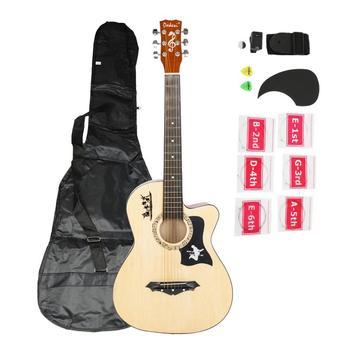 DK-38C Basswood Guitar Bag Straps Picks LCD Tuner Pickguard String Set Wood Color