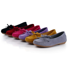 New Hot 6 Colors Suede Leather Bow Tassel Woman Flats Casual Moccasins Driving L