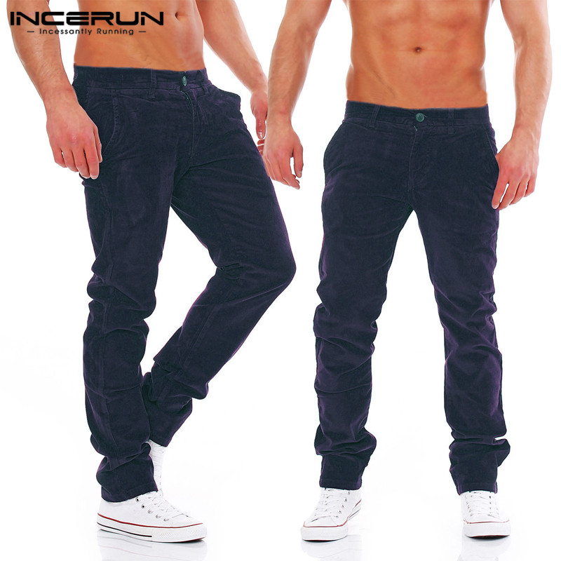 2019 INCERUN New Winter Mens Clothing Corduroy Pants Loose Fitness Joggers Sweatpants Cargo Pants Tracksuits Harem Long Trousers