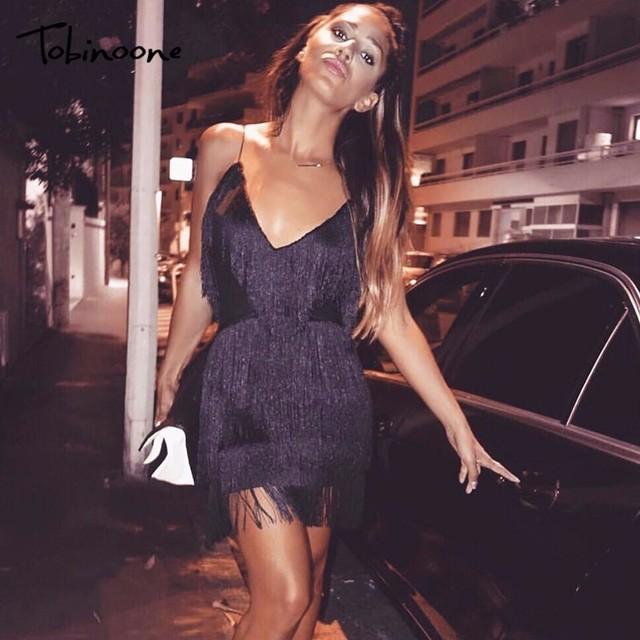 Tobinoone Bodycon Tassel Dresses 2018 Summer Vestidos Women Celebrity Party  Dresses Spaghetti Strap Tassel Fringe Mini Clubwear 747246f97ecb